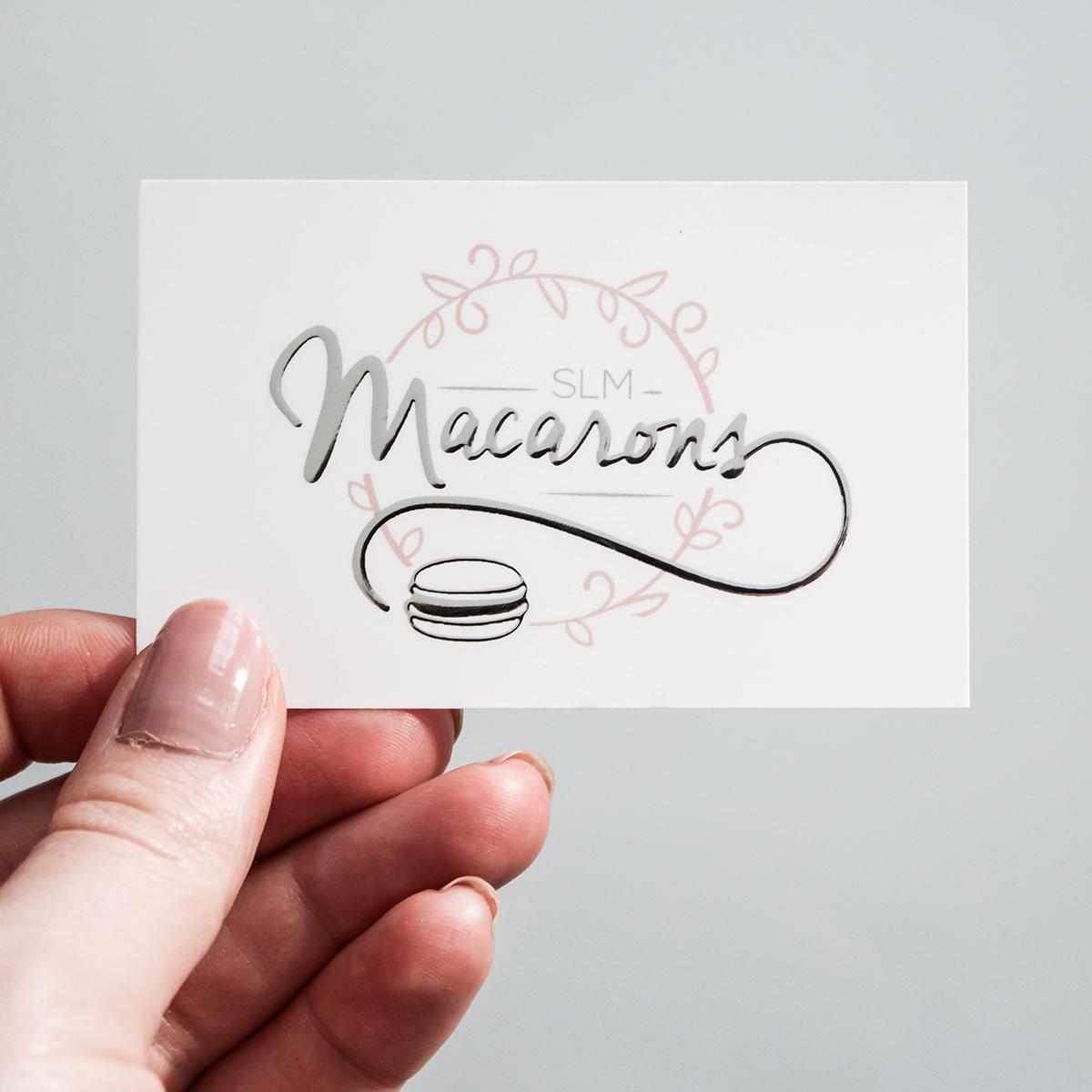carte de visite, slm macarons, pâtisserie, identité visuelle, logo, entreprise,